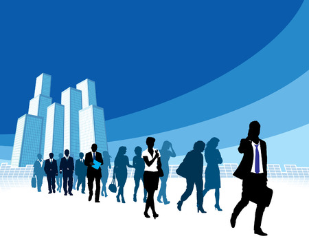 large: People are walking, large high buildings in the background.  Illustration