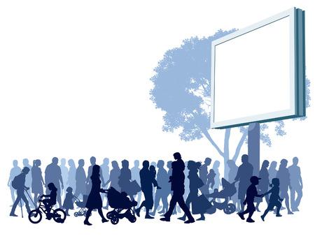 foules: Foule de personnes marchant dans la rue.  Illustration