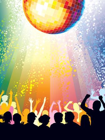 disco parties: Gran grupo de personas bailando en un club. Vectores