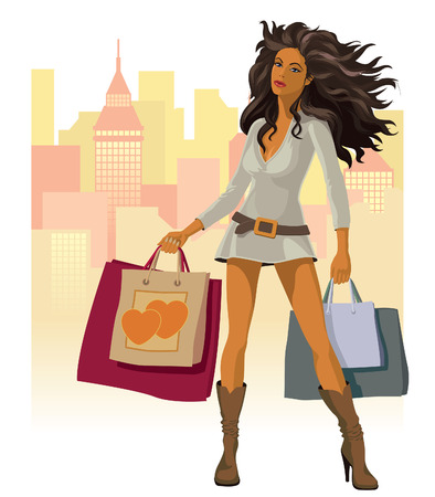 Girl with shopping bags modern city in the background Illustration