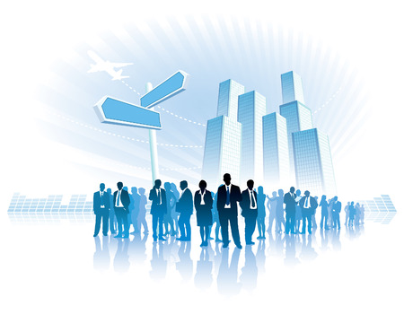 Businesspeople are standing in front of a direction sign, high buildings in the background.  Vector