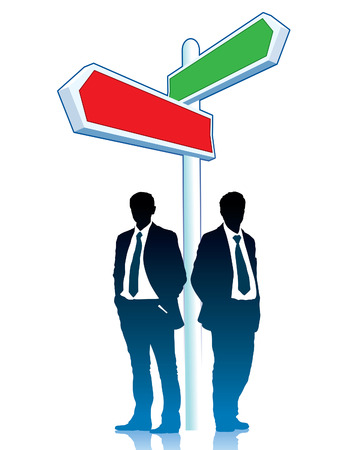 Two businessmen are standing in front of a direction sign  Vector