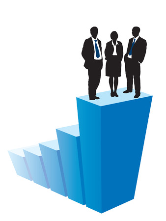 Successful business team is standing on a large graph Vector