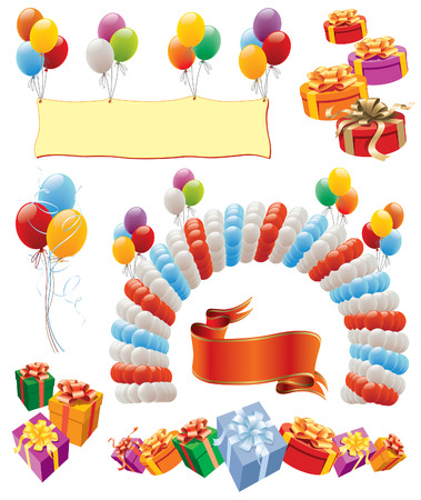 Design elements - balloons decoration for birthday and party Vector