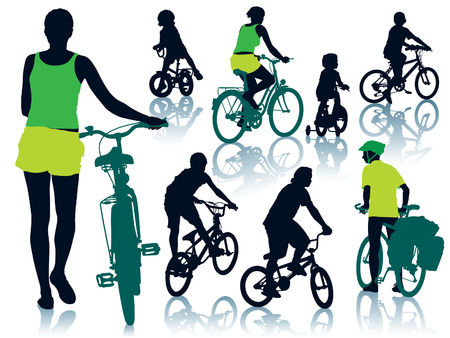 cycle ride: Collection of silhouettes of cycling people. Vector illustration.
