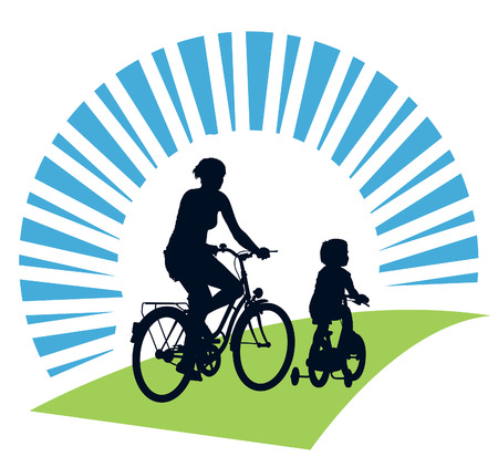 two generation family: Mother and child cycling on a summer trip.  Illustration