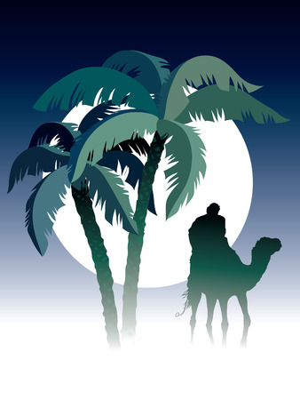 desert storm: Palm trees, man riding on camel, sky and moon in the background