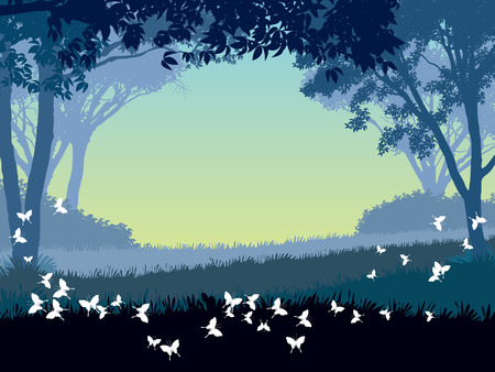 Dusk in park. Trees and flying butterflies. illustration. Vector
