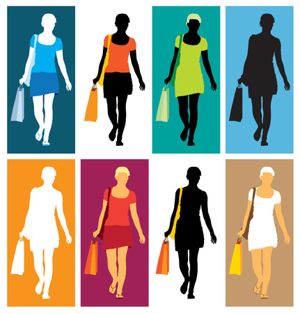 A set of colorful silhouettes of shopping girl Vector