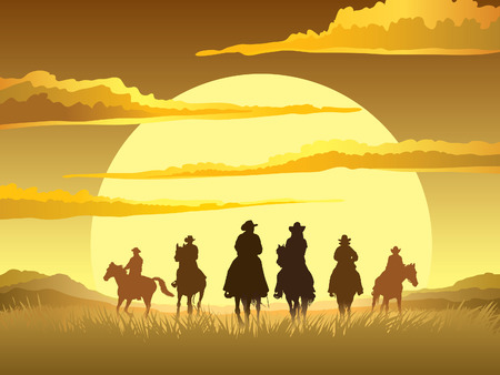 prairie: Team of cowboys silhouette galloping against a sunset background