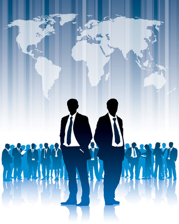 argument: Businesspeople are standing in front of large world map. The base map is from Central Intelligence Agency Web site. Illustration