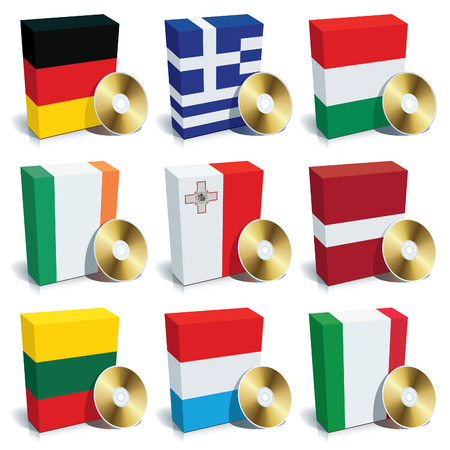 Software boxes with colors of national flags. Europe set 2 Vector