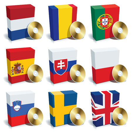 Software boxes with colors of national flags. Europe set 3 Vector