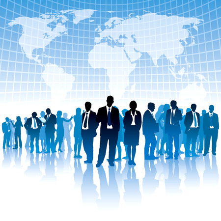 Businesspeople are standing in front of large world map. The base map is from Central Intelligence Agency Web site. Vector