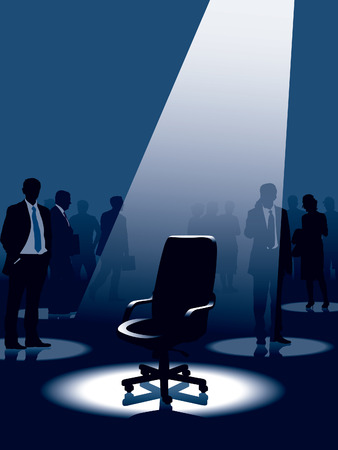 job recruitment: Empty chair and group of people with aspirations. Illustration