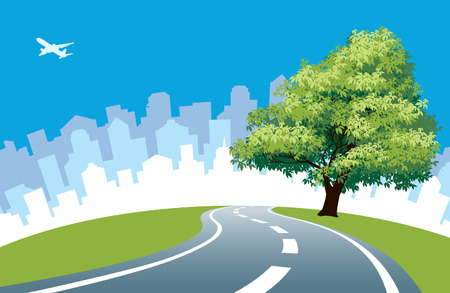 Big tree at the road, cityscape silhouette in the background. Illustration