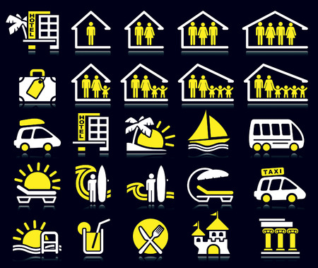 family vacations: Set of white and yellow summer icons.