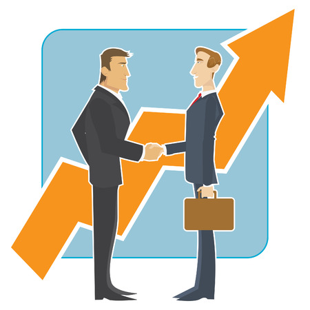 Meeting of business partners in front of a large growing chart Vector