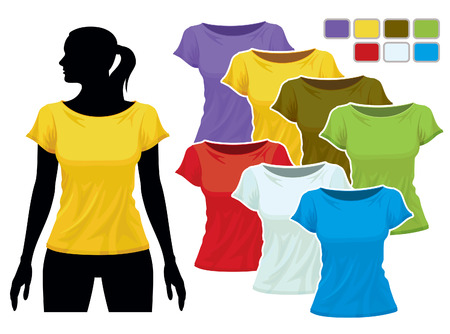sleeved: Woman body silhouette with colorful collection of t-shirts