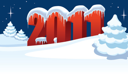 New Year 2011 and Christmas trees on winter white background Stock Vector - 7599242