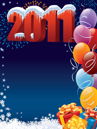 New Year 2011 decoration with copy space for your message Stock Vector - 7599243