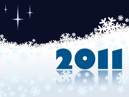 New Year 2011 at night on winter white background Stock Vector - 7599244