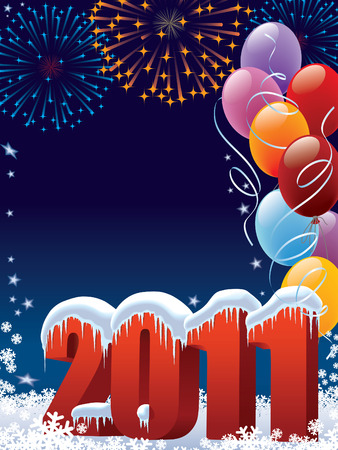 New Year 2011 decoration with copy space for your message Stock Vector - 7599247