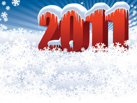 New Year 2011 on winter white background Stock Vector - 7627436