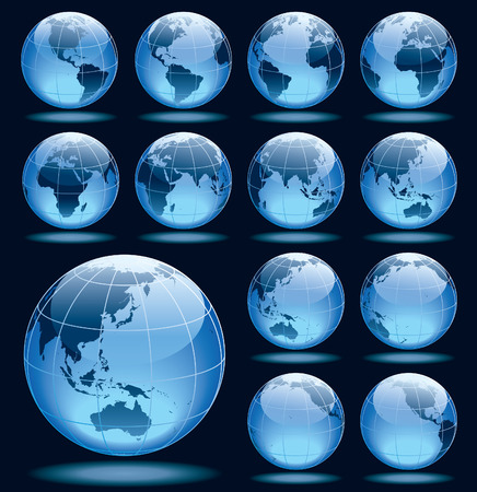 Set of 13 globes showing earth rotation in various positions Vector