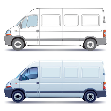 cargo service: White commercial vehicle - delivery van - colored and layout