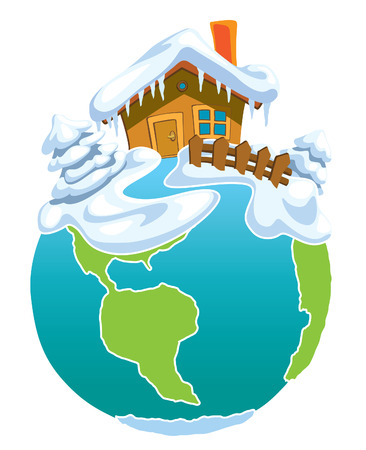 North Pole, Globe with Santa Claus house. Vector