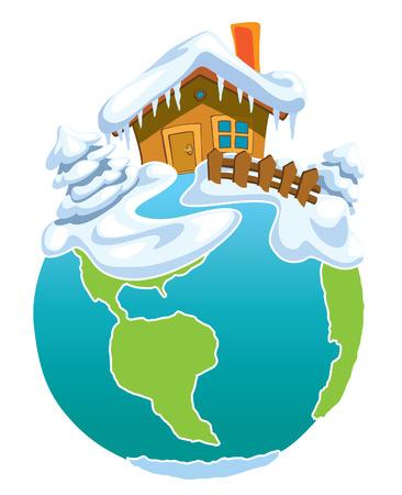 north sea: North Pole, Globe with Santa Claus house.
