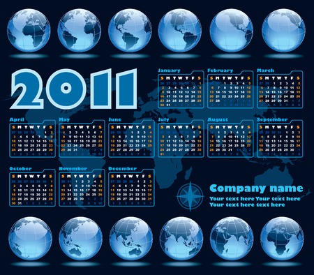 The Earth blue calendar for 2011, weeks starts on Sunday Vector