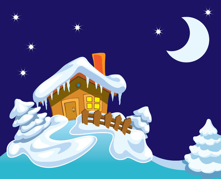 cottage fence: North Pole, Santa Claus house and winter background with night, stars and moon.