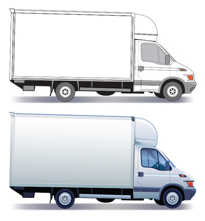 wheel truck: White commercial vehicle - delivery truck - colored and layout Illustration