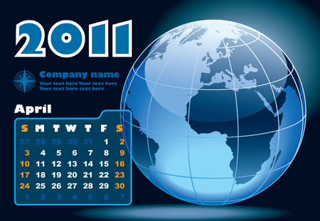 April - the Earth blue calendar for 2011, weeks starts on Sunday Vector
