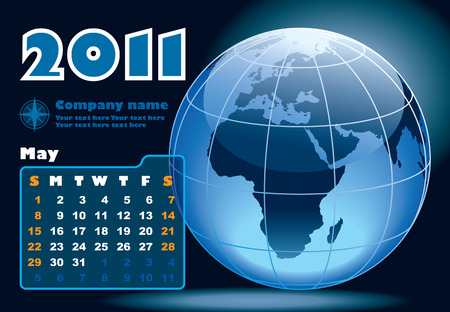 May - the Earth blue calendar for 2011, weeks starts on Sunday Vector