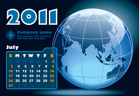 July - the Earth blue calendar for 2011, weeks starts on Sunday Vector