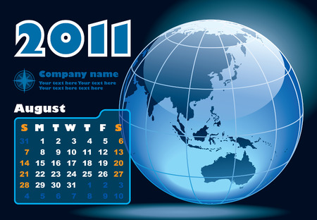 August - the Earth blue calendar for 2011, weeks starts on Sunday Vector