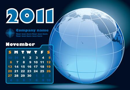 November - the Earth blue calendar for 2011, weeks starts on Sunday Vector