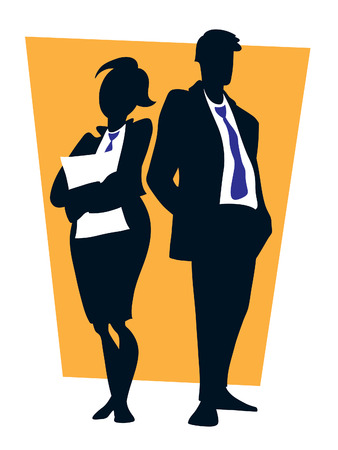 Two young professionals standing in front of a large blank sign Stock Vector - 7669925