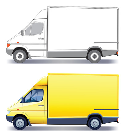 cargo van: Yellow commercial vehicle - delivery truck - colored and layout