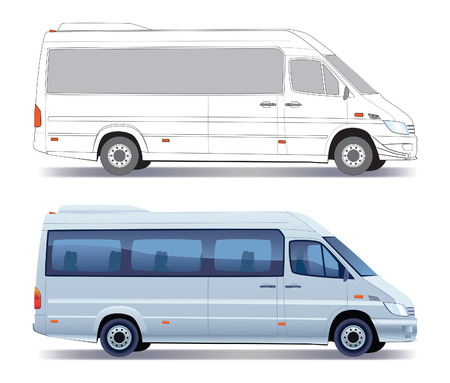 mini bus: Commercial vehicle - silver passenger minibus - colored and layout Illustration