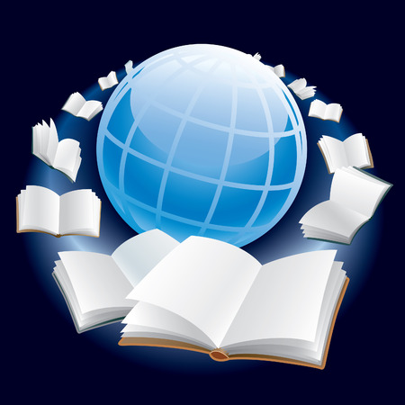 Open books are flying around earth globe in space. Vector