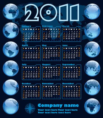 The Earth blue calendar for 2011, weeks starts on Sunday Vector
