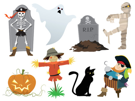 scarecrow: Halloween collection of design elements,  illustration.