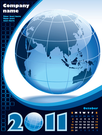 October - the Earth blue calendar for 2011, weeks starts on Sunday Vector