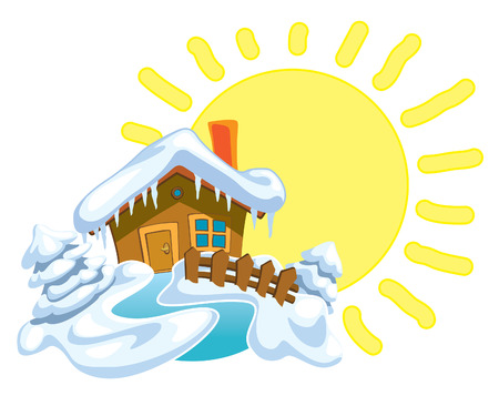 sunny cold days: North Pole, Santa Claus house and winter background with shining sun