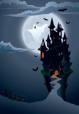 Halloween scary Burg, perfekte Illustration für Halloween-Urlaub