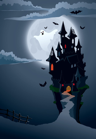 manor: Halloween scary castle, perfect illustration for Halloween holiday